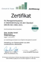 Zertifizierungen Umwelt Zertifikat